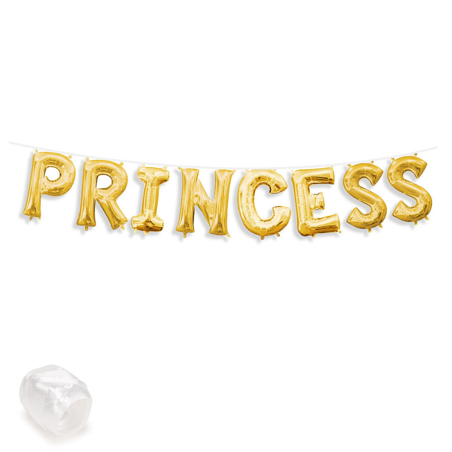 """View larger image of Air-Fillable 13"""" Gold Letter Balloon Banner Kit """"PRINCESS"""""""