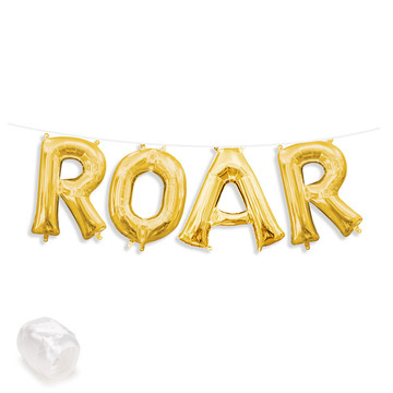 "Air-Fillable 13"" Gold Letter Balloon Banner Kit ""ROAR"""
