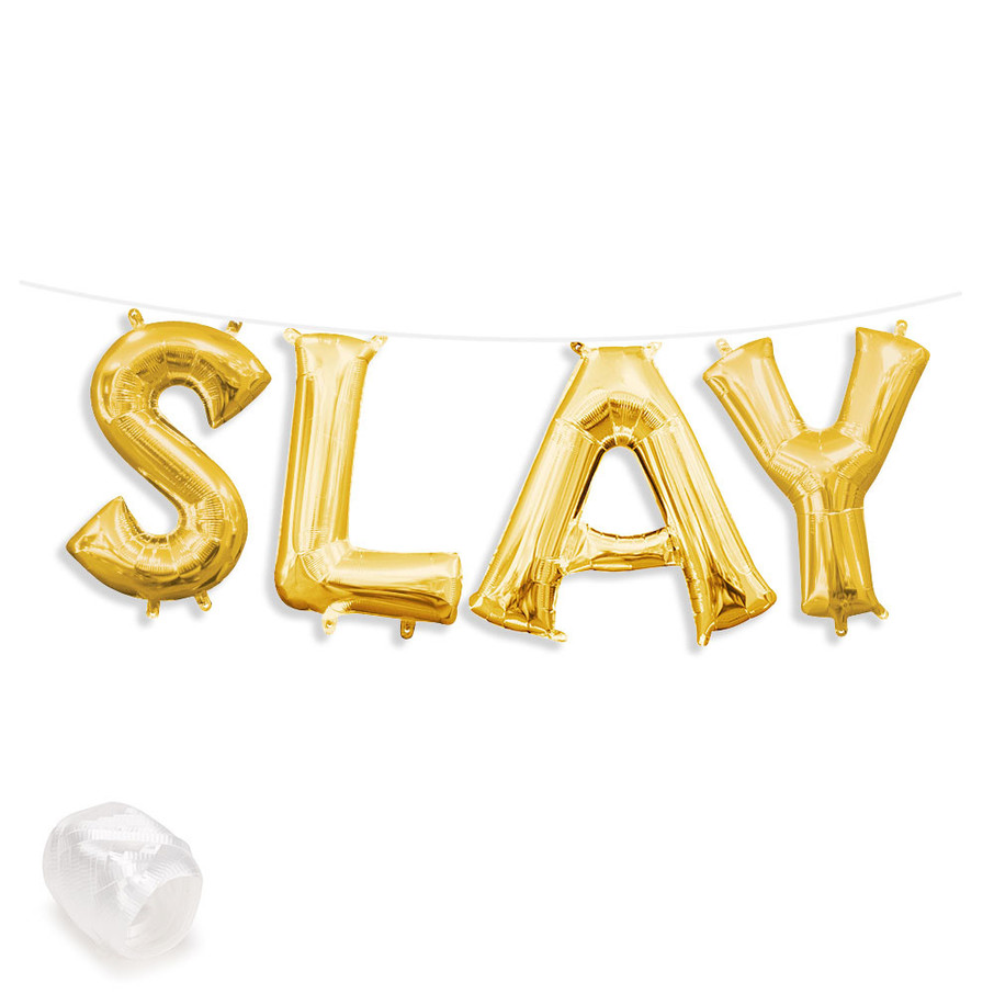 "View larger image of Air-Fillable 13"" Gold Letter Balloon Banner Kit ""SLAY"""
