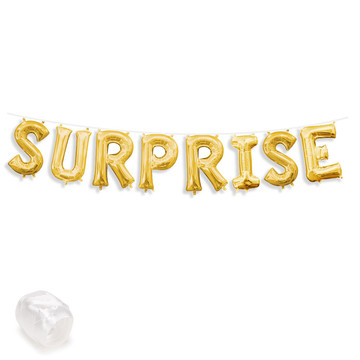 "Air-Fillable 13"" Gold Letter Balloon Banner Kit ""SURPRISE"""