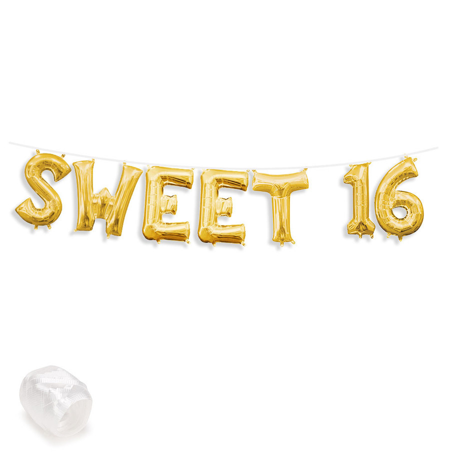 "View larger image of Air-Fillable 13"" Gold Letter Balloon Banner Kit ""SWEET 16"""