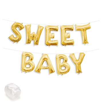"Air-Fillable 13"" Gold Letter Balloon Banner Kit ""SWEET BABY"""