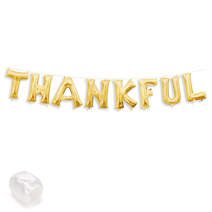 "View larger image of Air-Fillable 13"" Gold Letter Balloon Banner Kit ""THANKFUL"""