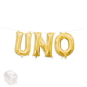 "Air-Fillable 13"" Gold Letter Balloon Banner Kit ""UNO"""