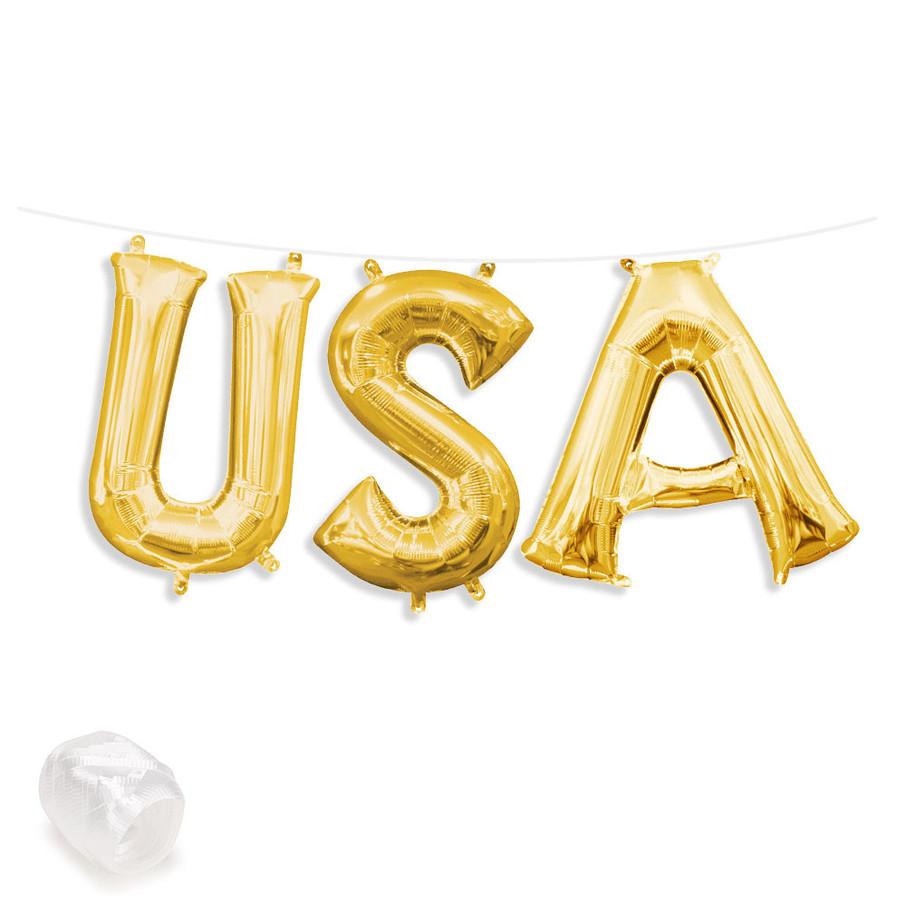 "View larger image of Air-Fillable 13"" Gold Letter Balloon Banner Kit ""USA"""