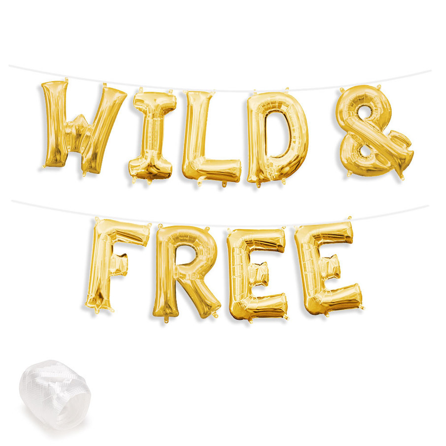 "View larger image of Air-Fillable 13"" Gold Letter Balloon Banner Kit ""WILD & FREE"""