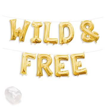"""Air-Fillable 13"""" Gold Letter Balloon Banner Kit """"WILD & FREE"""""""