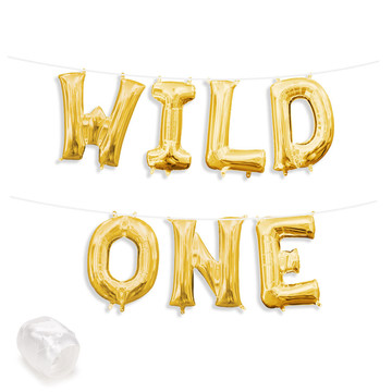 "Air-Fillable 13"" Gold Letter Balloon Banner Kit ""WILD ONE"""