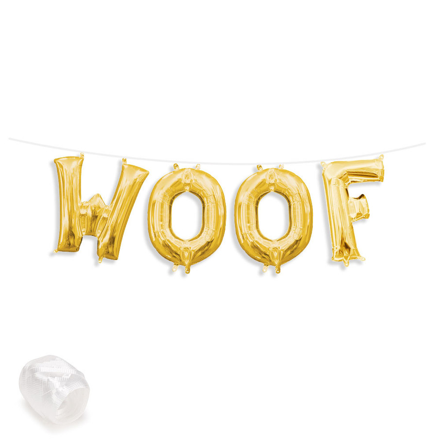 "View larger image of Air-Fillable 13"" Gold Letter Balloon Banner Kit ""WOOF"""