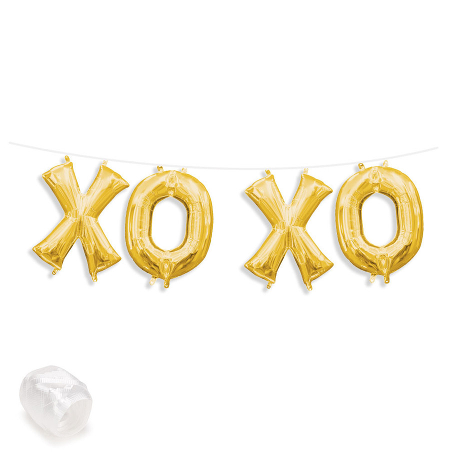 "View larger image of Air-Fillable 13"" Gold Letter Balloon Banner Kit ""XOXO"""