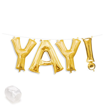 "Air-Fillable 13"" Gold Letter Balloon Banner Kit ""YAY!"""