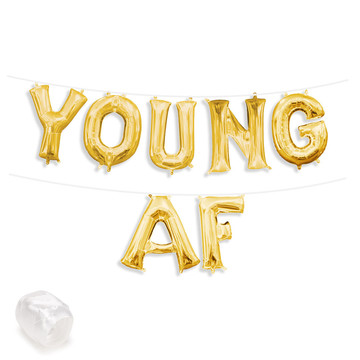 """Air-Fillable 13"""" Gold Letter Balloon Banner Kit """"YOUNG AF"""""""