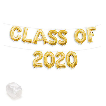 """2020"" Silver Air-Fillable 13"" Letter Balloon Banner Kit"