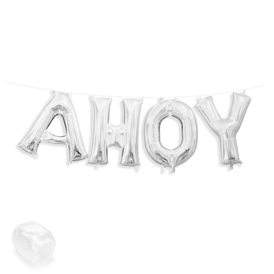 "View larger image of Air-Fillable 13"" Silver Letter Balloon Banner Kit ""AHOY"""