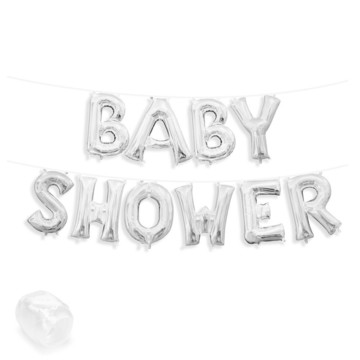 "Air-Fillable 13"" Silver Letter Balloon Banner Kit ""BABY SHOWER"""