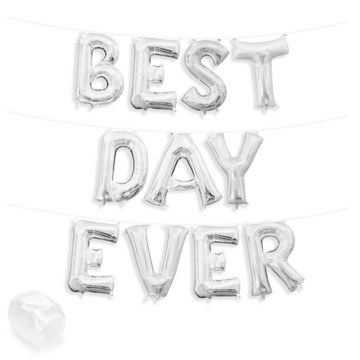 """Air-Fillable 13"""" Silver Letter Balloon Banner Kit """"BEST DAY EVER"""""""