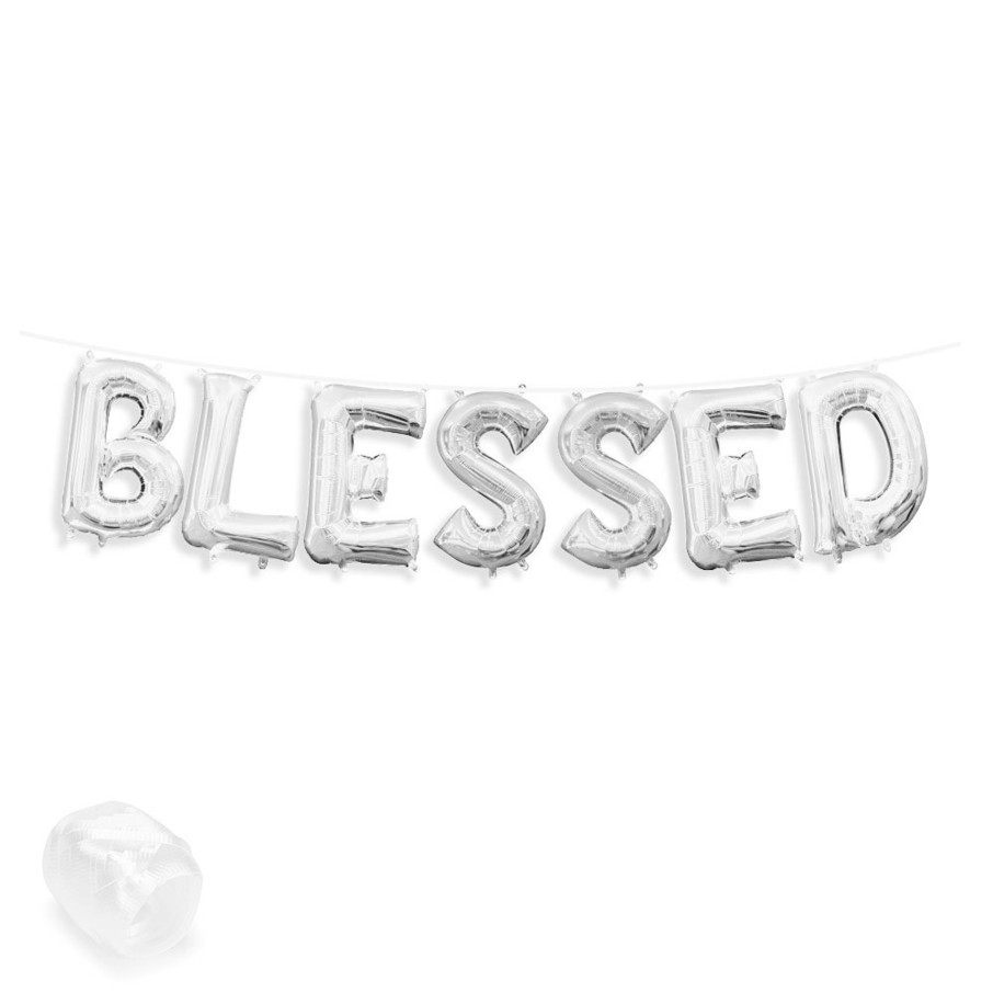 "View larger image of Air-Fillable 13"" Silver Letter Balloon Banner Kit ""BLESSED"""
