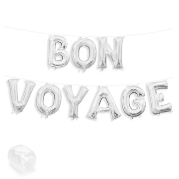 "Air-Fillable 13"" Silver Letter Balloon Banner Kit ""BON VOYAGE"""