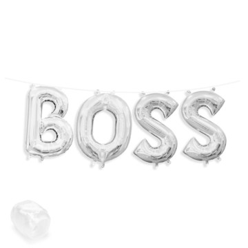 "Air-Fillable 13"" Silver Letter Balloon Banner Kit ""BOSS"""