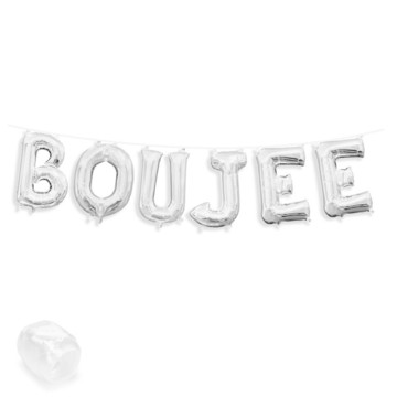 """Air-Fillable 13"""" Silver Letter Balloon Banner Kit """"BOUJEE"""""""
