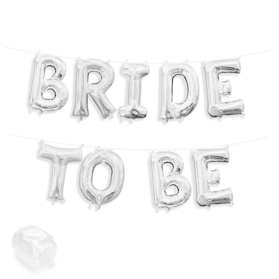 "View larger image of Air-Fillable 13"" Silver Letter Balloon Banner Kit ""BRIDE TO BE"""