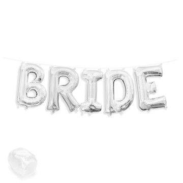 "Air-Fillable 13"" Silver Letter Balloon Banner Kit ""BRIDE"""