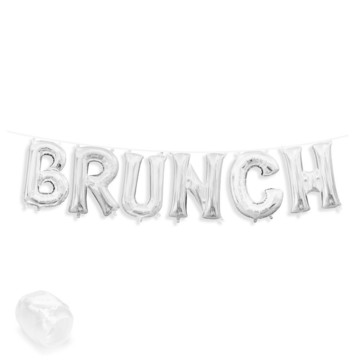 "Air-Fillable 13"" Silver Letter Balloon Banner Kit ""BRUNCH"""