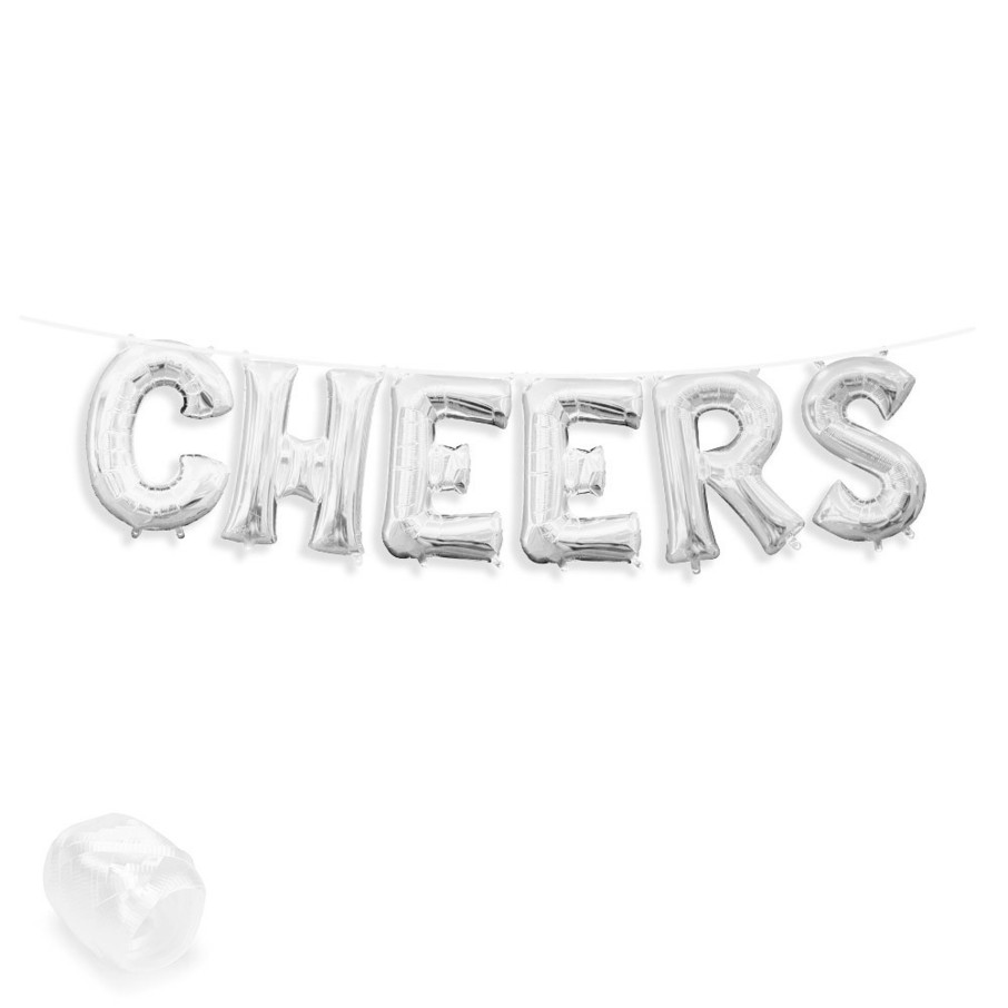 "View larger image of Air-Fillable 13"" Silver Letter Balloon Banner Kit ""CHEERS"""