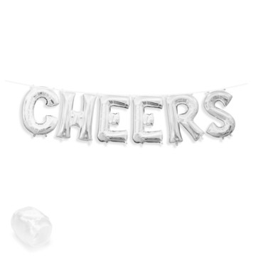 "Air-Fillable 13"" Silver Letter Balloon Banner Kit ""CHEERS"""