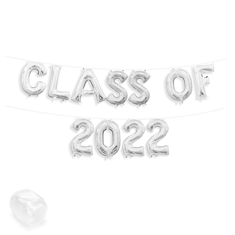 "View larger image of Air-Fillable 13"" Silver Letter Balloon Banner Kit ""CLASS OF 2019"""