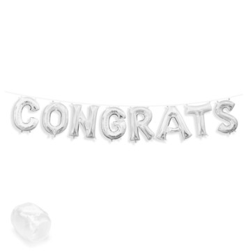 "Air-Fillable 13"" Silver Letter Balloon Banner Kit ""CONGRATS"""