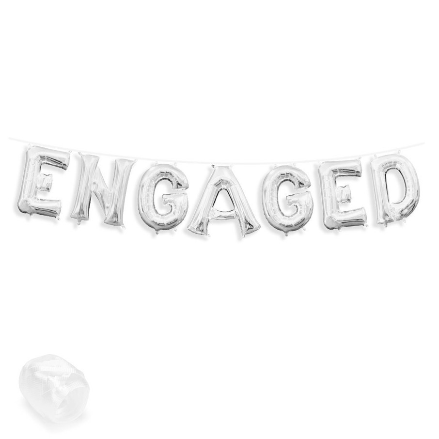 """View larger image of Air-Fillable 13"""" Silver Letter Balloon Banner Kit """"ENGAGED"""""""