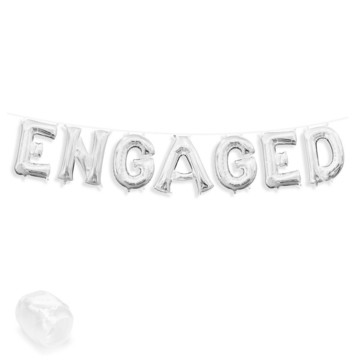 """Air-Fillable 13"""" Silver Letter Balloon Banner Kit """"ENGAGED"""""""