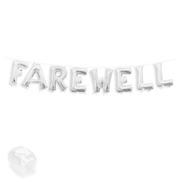 "Air-Fillable 13"" Silver Letter Balloon Banner Kit ""FAREWELL"""