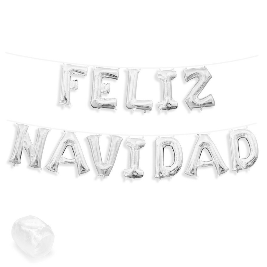 "View larger image of Air-Fillable 13"" Silver Letter Balloon Banner Kit ""FELIZ NAVIDAD"""