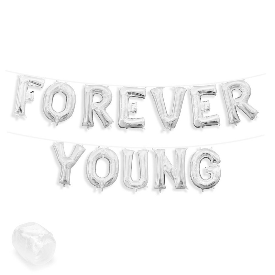 "View larger image of Air-Fillable 13"" Silver Letter Balloon Banner Kit ""FOREVER YOUNG"""
