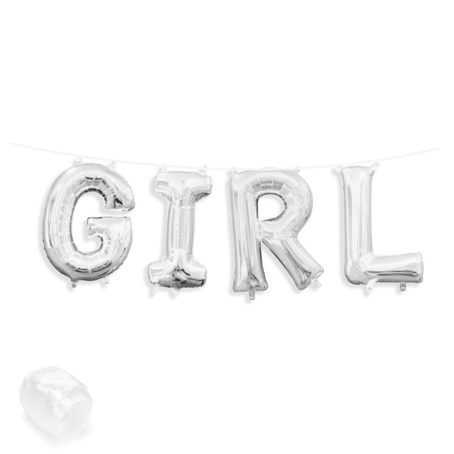 "View larger image of Air-Fillable 13"" Silver Letter Balloon Banner Kit ""GIRL"""