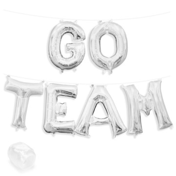 "Air-Fillable 13"" Silver Letter Balloon Banner Kit ""GO TEAM"""
