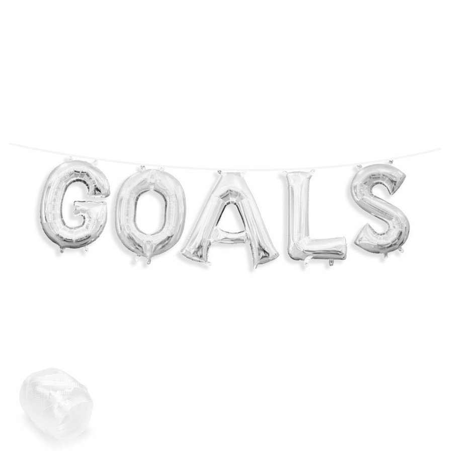 "View larger image of Air-Fillable 13"" Silver Letter Balloon Banner Kit ""GOALS"""