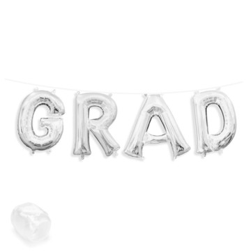 "Air-Fillable 13"" Silver Letter Balloon Banner Kit ""GRAD"""