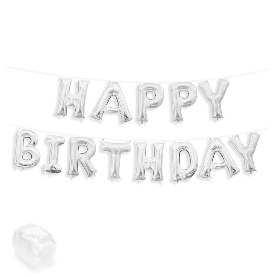 """View larger image of Air-Fillable 13"""" Silver Letter Balloon Banner Kit """"HAPPY BIRTHDAY"""""""
