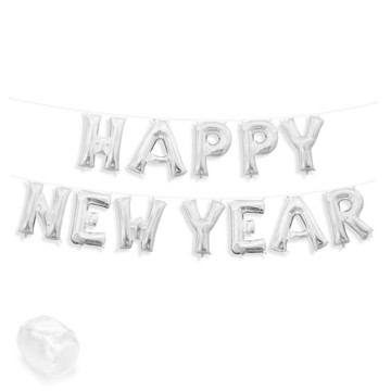 "Air-Fillable 13"" Silver Letter Balloon Banner Kit ""HAPPY NEW YEAR"""
