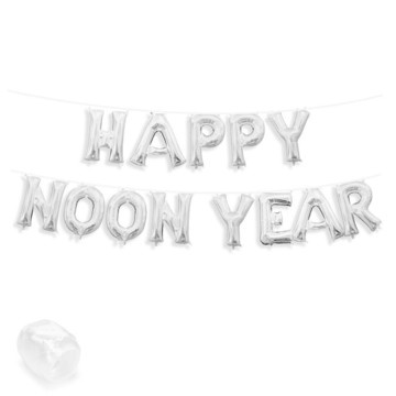 """Air-Fillable 13"""" Silver Letter Balloon Banner Kit """"HAPPY NOON YEAR"""""""
