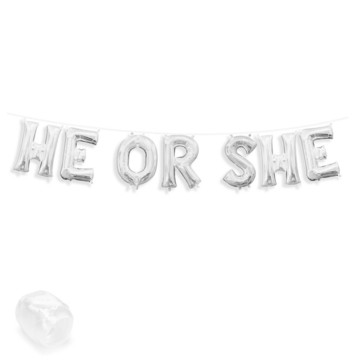 """Air-Fillable 13"""" Silver Letter Balloon Banner Kit """"HE OR SHE"""""""