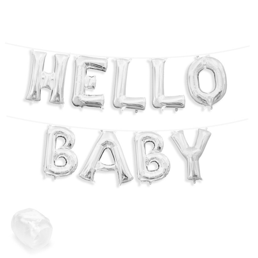 "View larger image of Air-Fillable 13"" Silver Letter Balloon Banner Kit ""HELLO BABY"""
