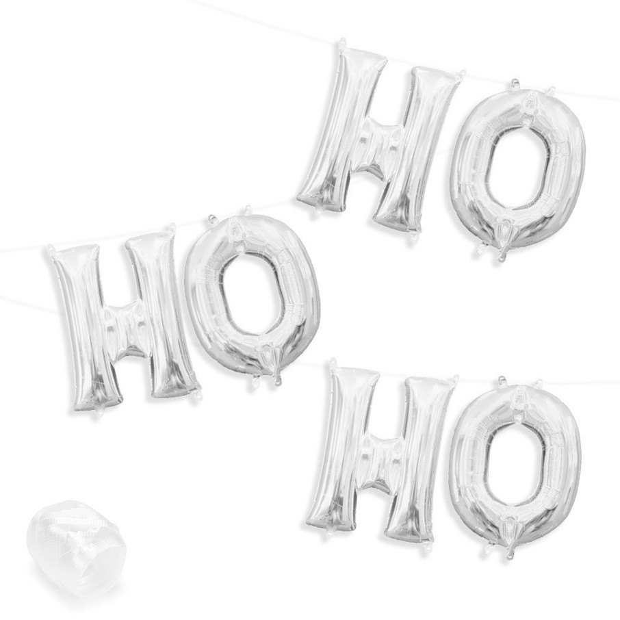 """View larger image of Air-Fillable 13"""" Silver Letter Balloon Banner Kit """"HO HO HO"""""""