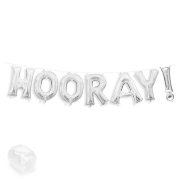 "Air-Fillable 13"" Silver Letter Balloon Banner Kit ""HOORAY!"""