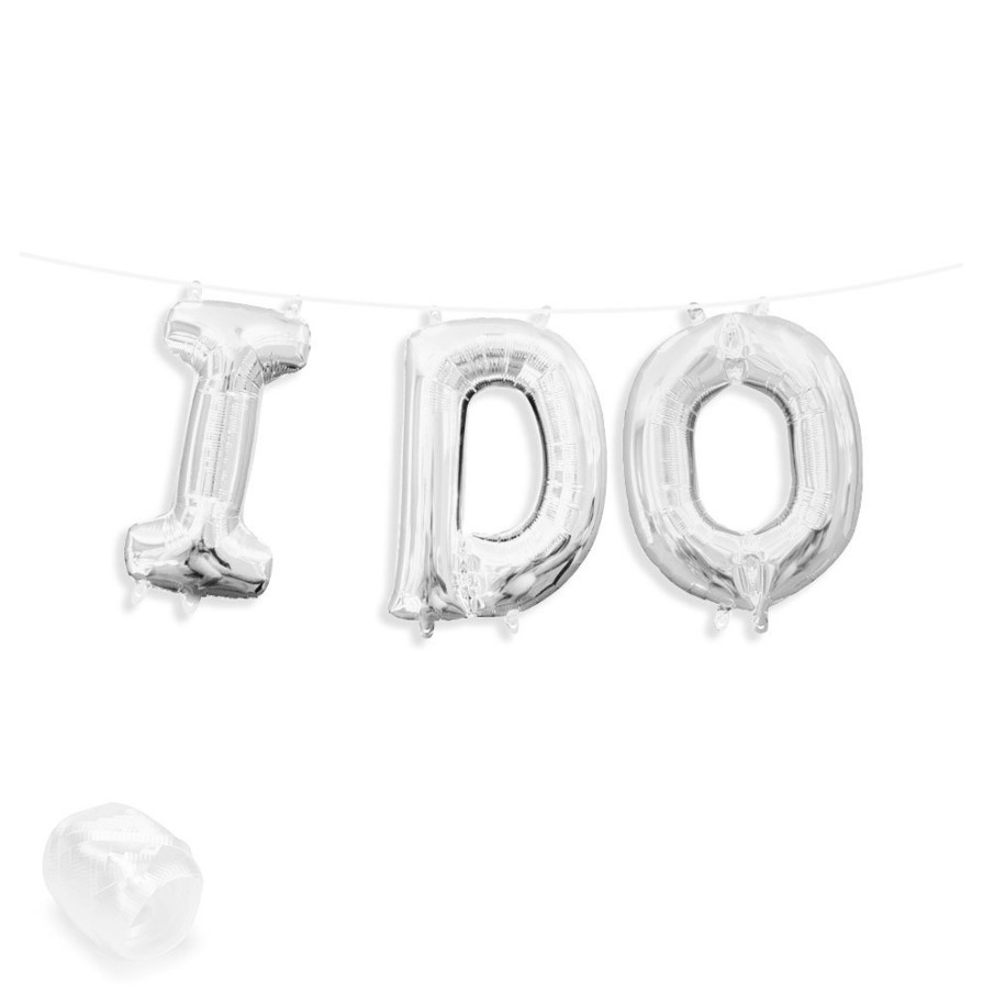 """View larger image of Air-Fillable 13"""" Silver Letter Balloon Banner Kit """"I DO"""""""