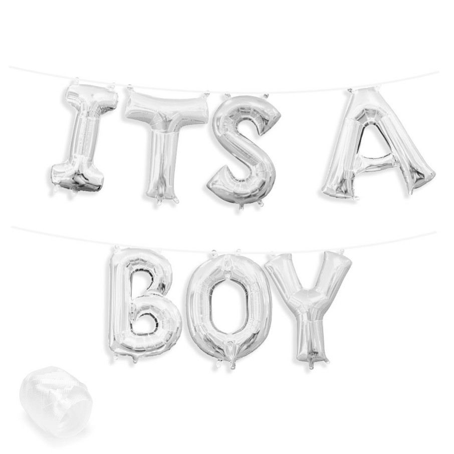 """View larger image of Air-Fillable 13"""" Silver Letter Balloon Banner Kit """"ITS A BOY"""""""