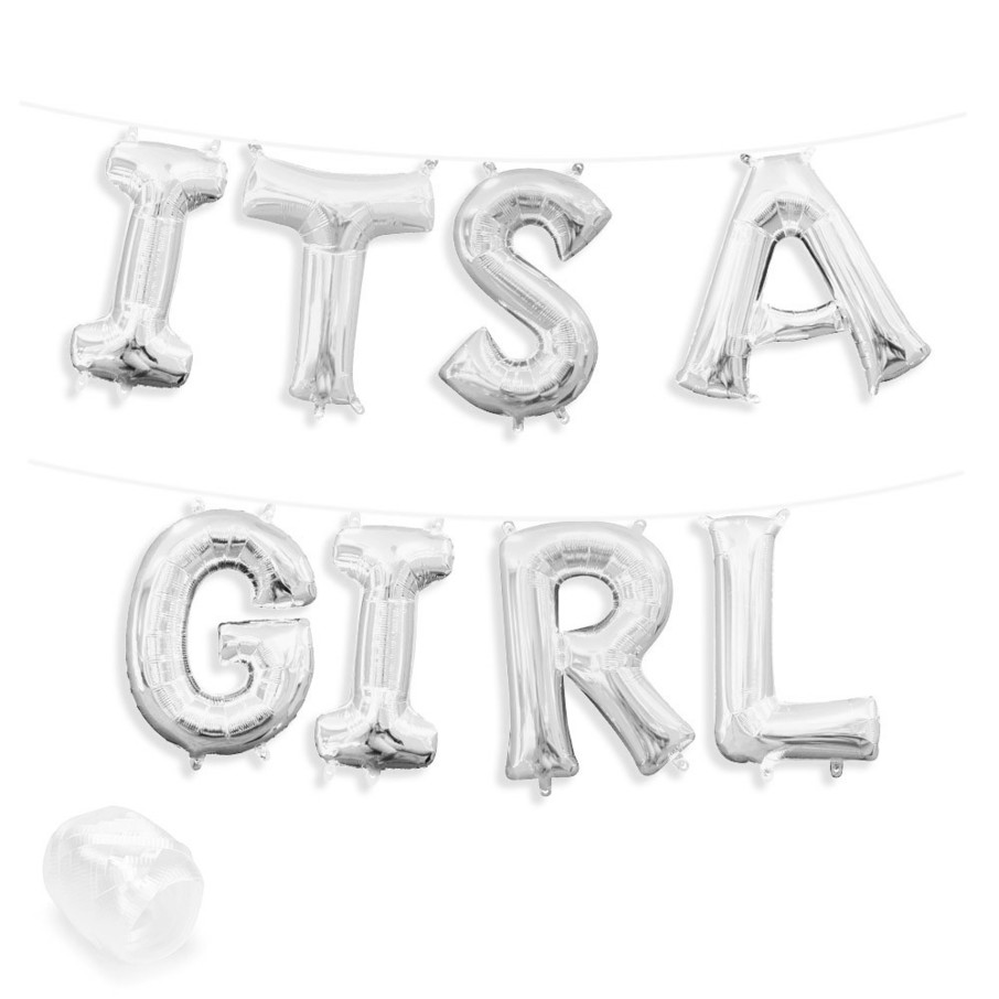"""View larger image of Air-Fillable 13"""" Silver Letter Balloon Banner Kit """"ITS A GIRL"""""""